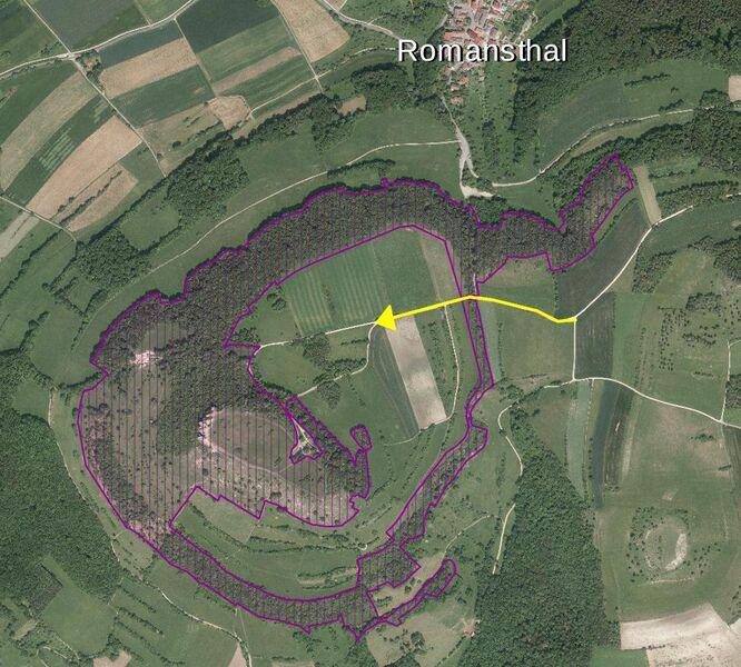 Rad fahren bis zur Staffelberg-Klause ist nur auf dem von Osten kommenden befestigten Hauptweg erlaubt. Quelle: Landratsamt Lichtenfels