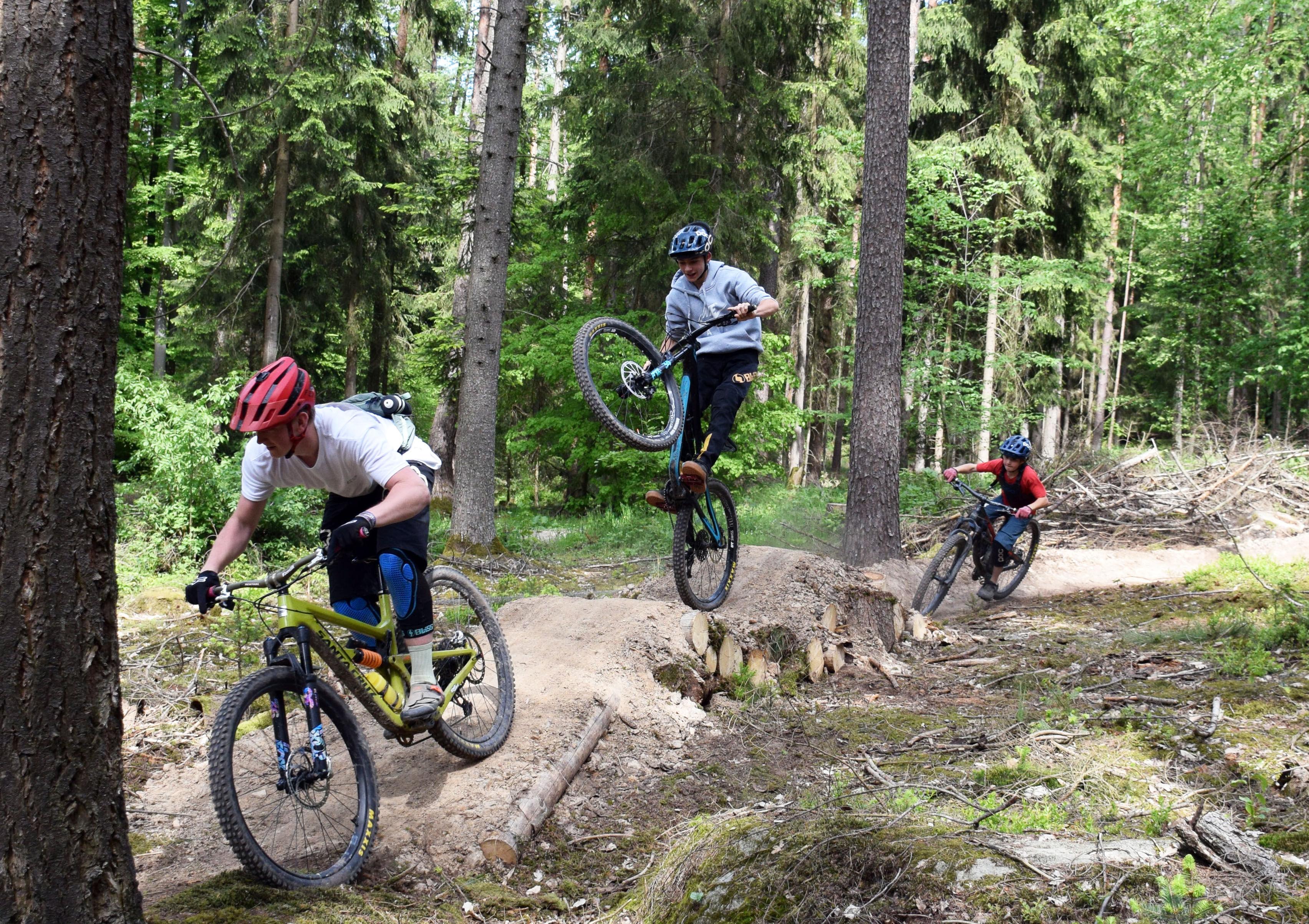 Mehr als 50 Mountainbike-begeisterte Helfer haben innerhalb von drei Wochen am Krappenberg den Trail in Eigenleistung gebaut. (Foto: Landratsamt Licht