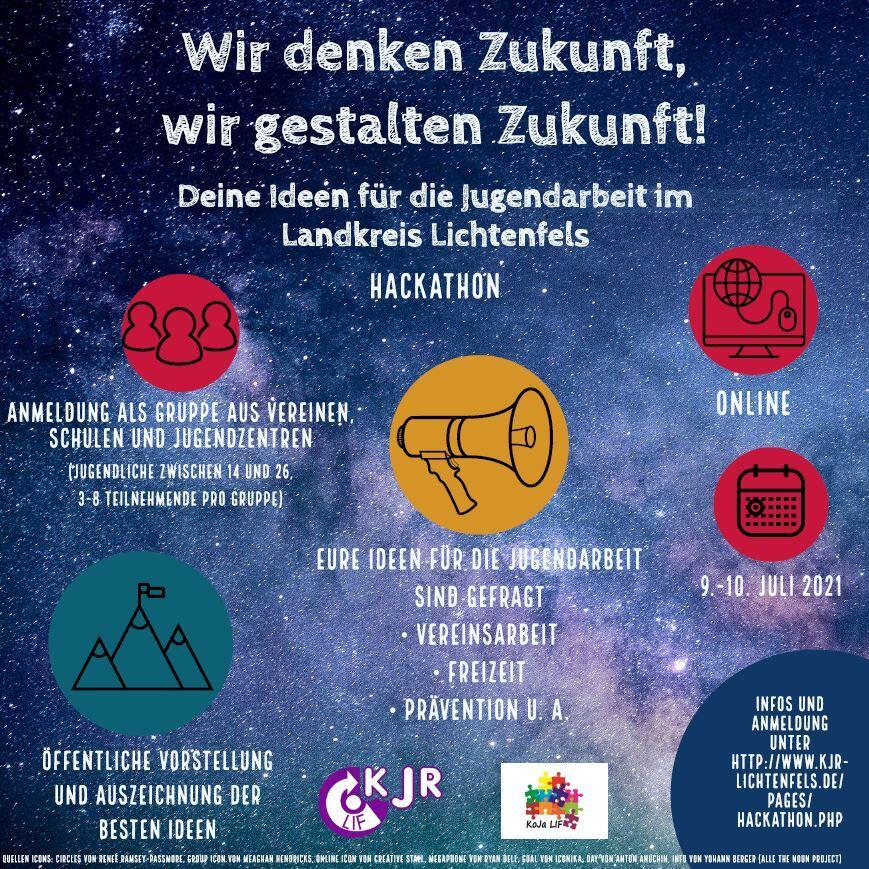 Ideen zur Jugendarbeit gesucht: beim Ideen-Hackathon am 9. und 10. Juli 2021. (Quelle: Flyer Kreisjugendring)