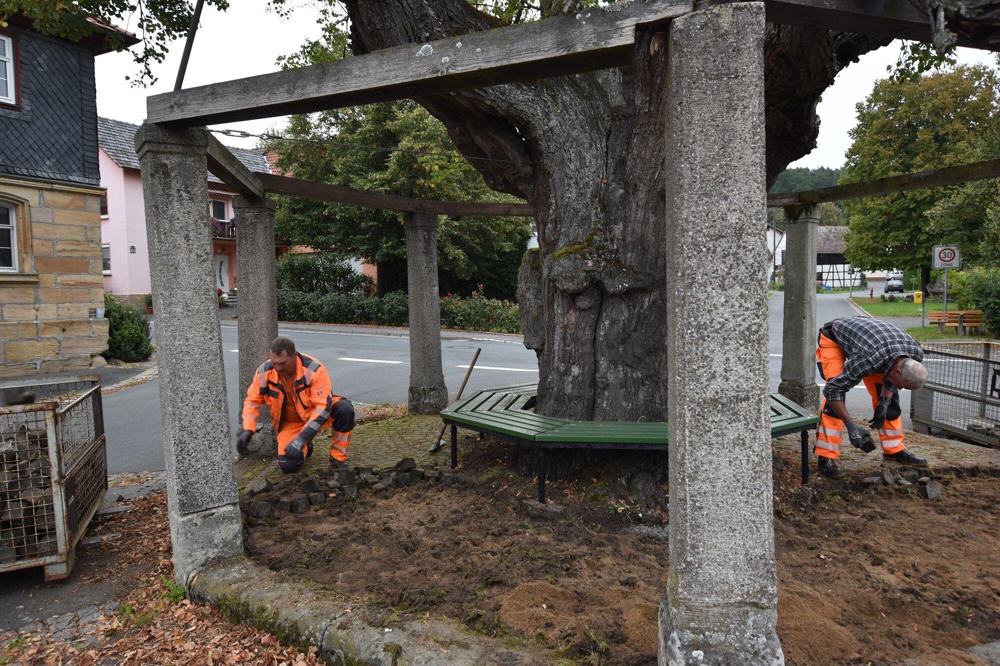 Die Mitarbeiter der Gemeinde bauten das Pflaster rund um die Tanzlinde aus. Foto: Stefanie Weigelmeier